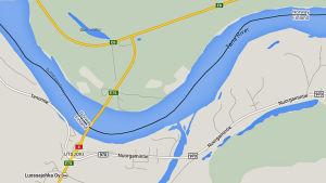 Karta över Utsjoki, Tana älv och vägen till Nuorgam.