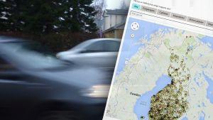 Bilar som kör förbi kombinerade med skärmdump från kartvisualisering.
