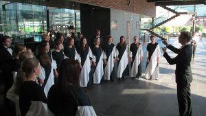Candomino-kuoro laulaa Esko Kallion johdolla Kantapöytä-ohjelmassa 17.9.2014.