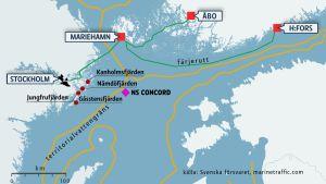 Karta över ubåtsjakten i oktober 2014