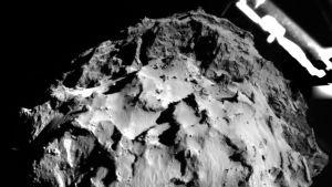 Philaet strax inför landningen på kometen.