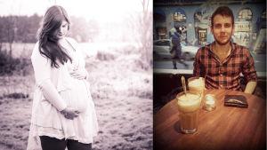 Sandra Vaihela står och håller om sin gravidmage. Andreas Höglund sitter vid ett bord med en kaffe framför sig.