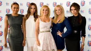 (The Spice Girls Story: Viva Forever!).Kuvassa vas.Melanie Brown, Melanie Chisholm, Geri Halliwell, Emma Bunton, Victoria Beckham. Yle Kuvapalvelu/Matt Crossick.