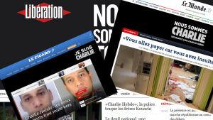 Kollage av de franska tidningarna Libérations, Le Mondes och Le igaros paradsidor den 8 januari 2015 dagen efter terroristattentatet mot Charlie Hebdo dagen innan.