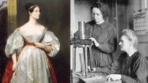 Ada Lovelace till vänster och Irene och Marie Curie till höger.