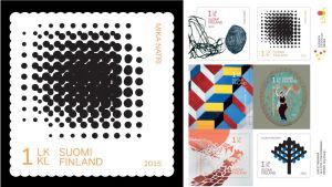 Mika Natris frimärkskonst på ett av sex nya konstfrimärken
