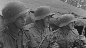 Nuoria asevelvollisia. Pataljoonan jääkärijoukkueen 20-vuotiaita miehiä II/JR 4:stä. Syväri, Kuuttilahden lohko 1942.