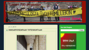 Finlands arbetarpartis webbsida i april 2015.