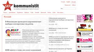Grafiska element på Finlands kommunistiska partis webbsida i april 2015.