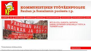 Webbsidan för Kommunistiska arbetarpartiet i april 2015.
