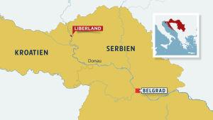 Karta över Liberland i gränstrakten mellan Serbien och Kroatien
