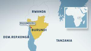 Karta över Burundi med grannländer