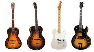 Några av B B Kings gitarrer i rad