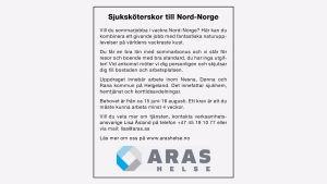 Annons i HBL lockar vårdpersonal till Norge.