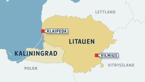 Karta över Litauen