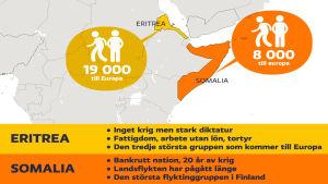 Antalet människor som flyr Eritrea och Somalia.