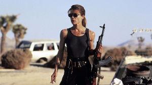Linda Hamilton som Sarah Connor i filmen Terminator 2 - Domedagen.
