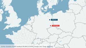 Karta som visar Dreden och Berlin