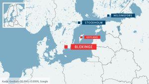 Karta som visar Blekinge och Gotland.