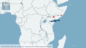 En karta över Kenya med Nairobi och Garissa.