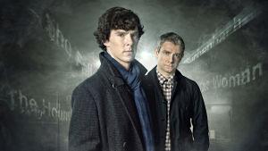 Uusi Sherlock -sarjan Sherlock Holmes (Benedict Cumberbatch) ja Tohtori John Watson (Martin Freeman)