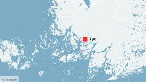 Karta över Egentliga Finland