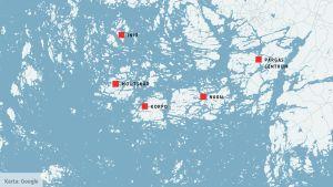 Karta över Pargas.