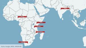 Hälften av alla unga som har aids finns i dessa länder.