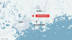 Karta över huvudstadsregionen med Myrbacka markerat.