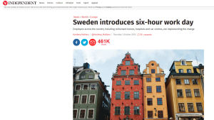 Nyhet med rubriken: Sweden introduces six-hour work day