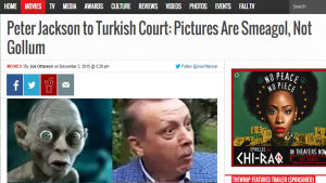 Nyhet med rubriken: Peter Jackson tp Turkish court: pictures are smeagol, not gollum.