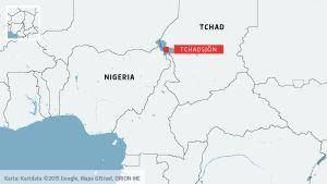 Karta över Tchad och Tchadsjön