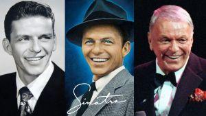 Tre bilder av Frank Sinatra i olika åldrar