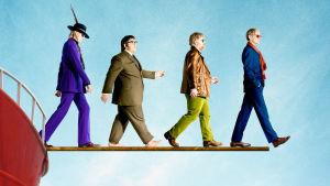 Merirosvoradio-elokuvan Gavin (Rhys Ifans), Dave (Nick Frost), The Count (Philip Seymour Hoffman) ja Quentin (Bill Nighy).