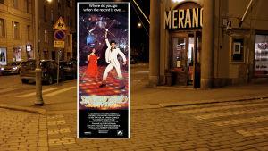 Före detta biograf Merano vid Femkanten i Helsingfors visade filmen Saturday Night Fever.