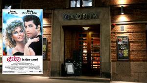 Före detta biograf Gloria vid Lilla Robertsgatan i Helsingfors visade filmen Grease.