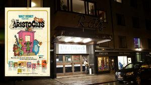 Före detta biograf Ritz vid Södra Hesperiagatan i Helsingfors visade Disneyfilmen Aristocats.