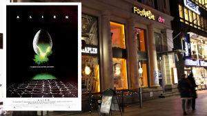 Före detta biograf Studio vid Mannerheimvägen i Helsingfors visade filmen Alien.