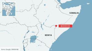 Kartan visar var terrorattacken ägde rum.
