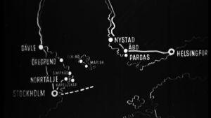 Karta över färjrutter.