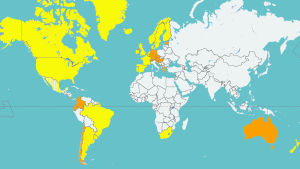 Karta på länder var samkönat äktenskap är lagligt.