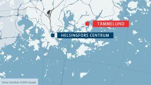 Karta som visar Tammelund i Helsingfors