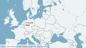 Karta över Tyskland och Köln.
