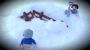Duplofigurer i snö