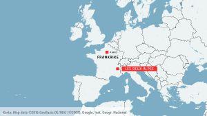 Karta visar Les Deux Alpes i Frankrike.