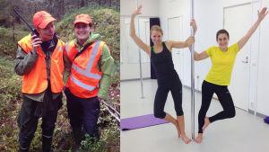 Två bilder av Hanna Enlund och Marica Öst. En när de är ute på älgjakt och en när de gör pole fitness.