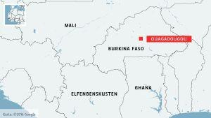 Karta över Burkina Faso och Ouagadougou.