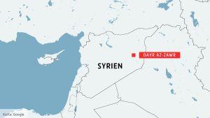 Karta över Syrien och staden Dayr az-Zawr