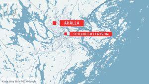 Karta visar Akalla och Stockholms centrum