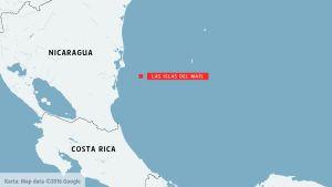 Karta på Nicaragua, Costa rica och Las islas del maís.